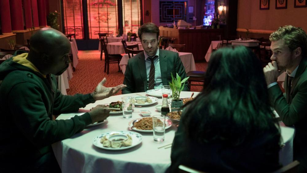 "Luke Cage (Mike Colter) Daredevil (Charlie Cox), Iron Fist (Finn Jones), and Jessica Jones (Krysten Ritter) in ""Marvel's The Defenders."" (Sarah Shatz / Netflix)"
