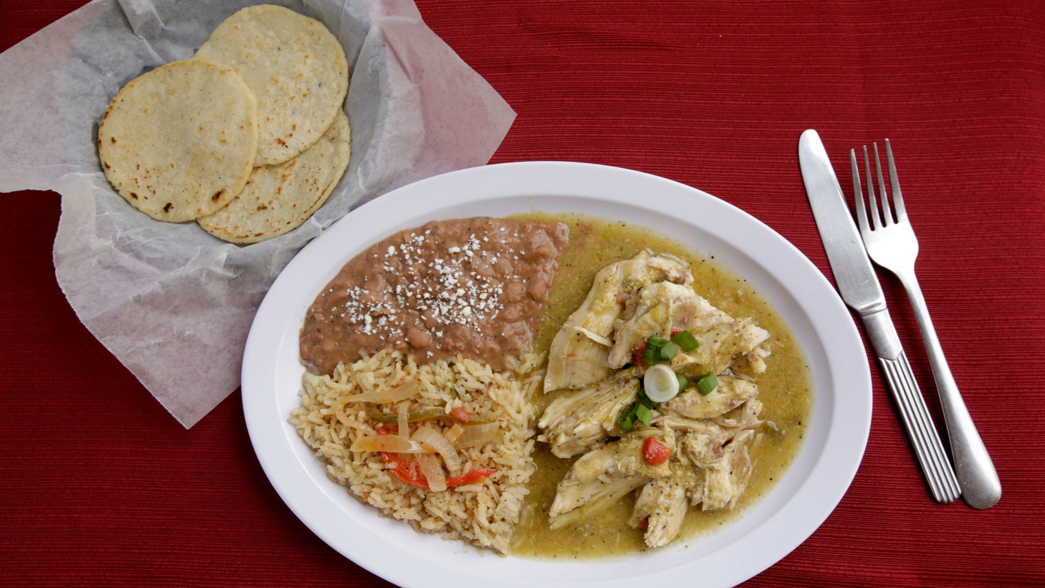 Chicken chile verde as served at Don Rogelio's Tex-Mex Restaurant in Lennox.