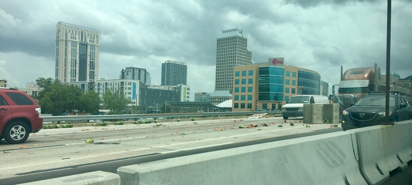 Watermelons Halt Traffic On I 4 In Downtown Orlando