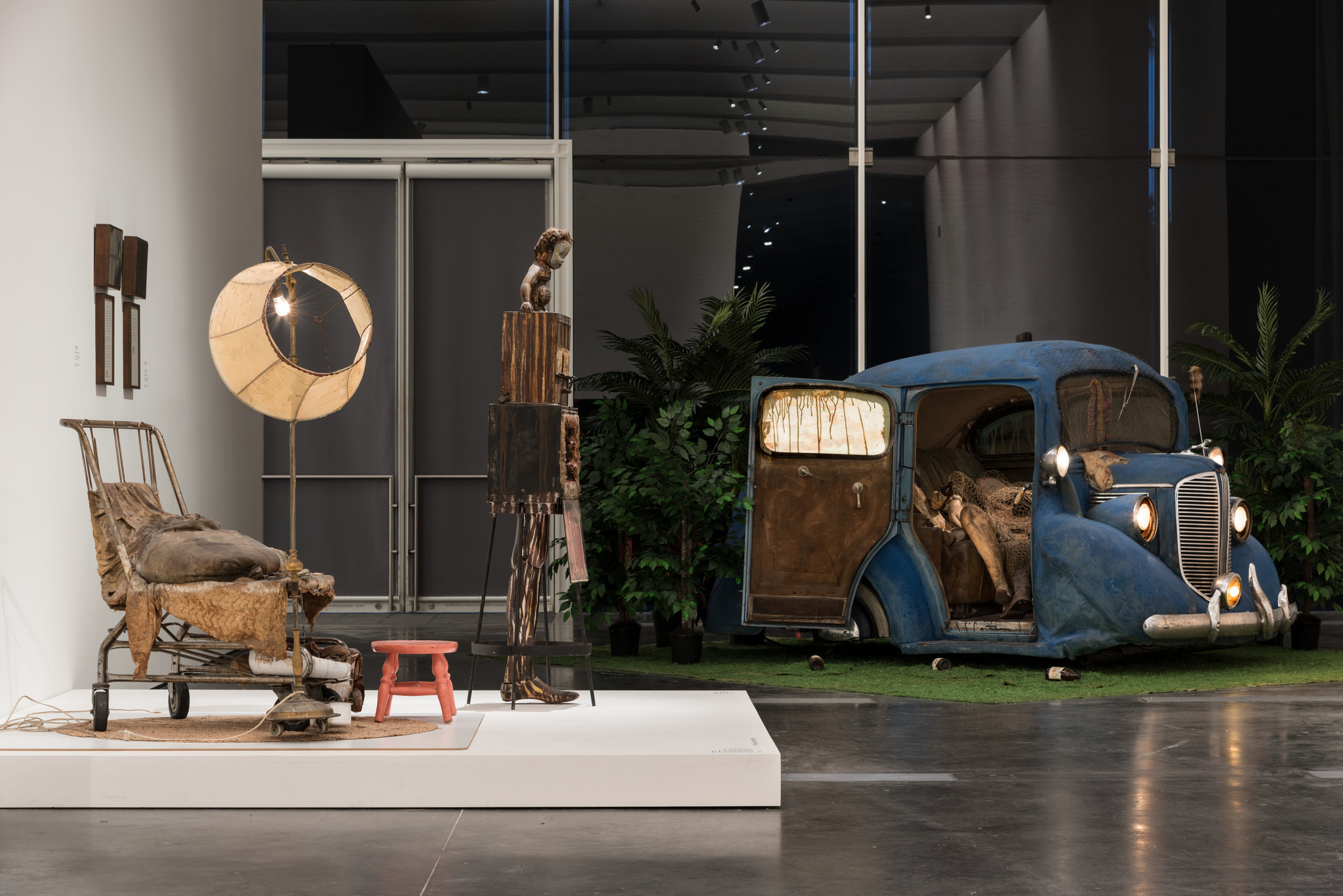 """Edward Kienholz's """"Illegal Operation,"""" left, and """"Back Seat Dodge '38,"""" right, are in the Dwan show."""