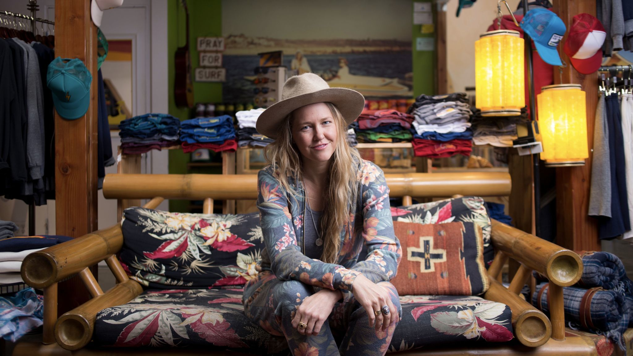 Paige Mycoskie sits inside the Aviator Nation flagship store on Abbot Kinney Boulevard in Venice.