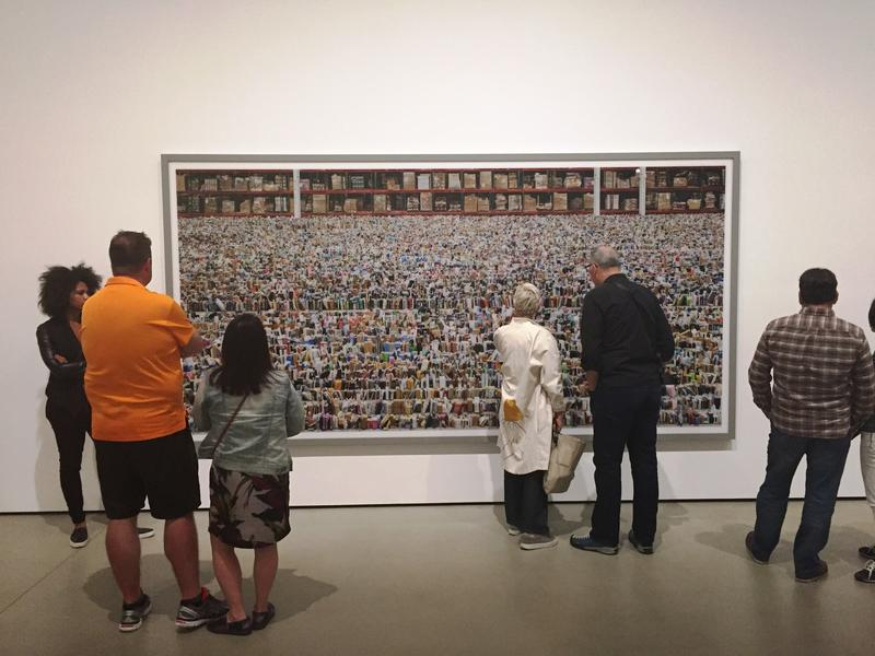 "Andreas Gursky's ""Amazon"" draws a Broad crowd. (Christopher Reynolds/Los Angeles Times)"