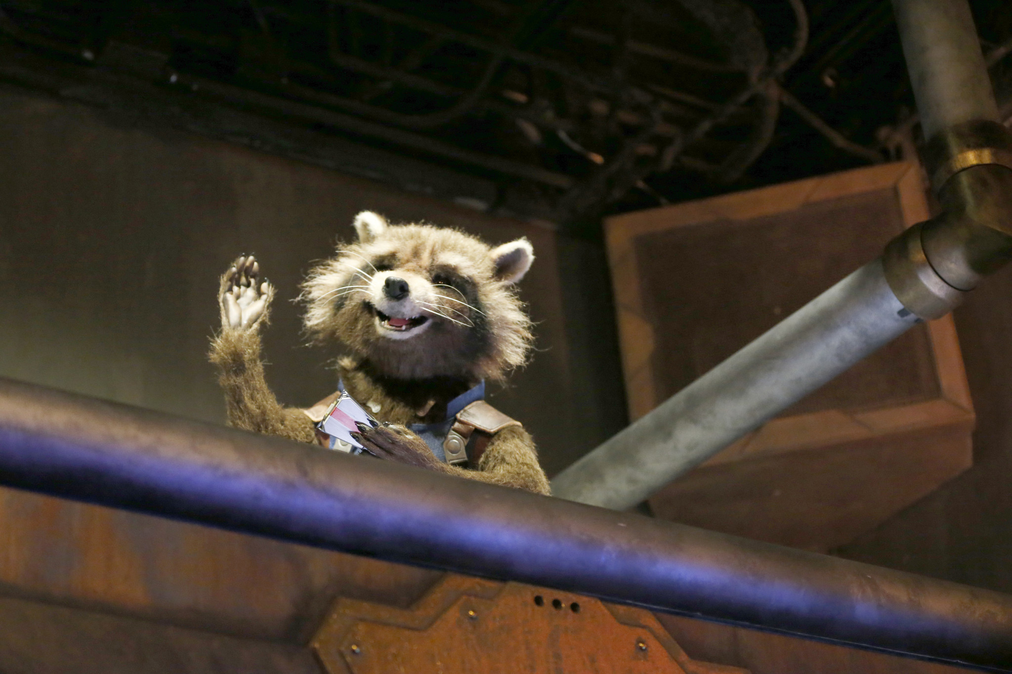 An animatronic Rocket Raccoon of the Guardians of the Galaxy: Mission Breakout ride in Anaheim.