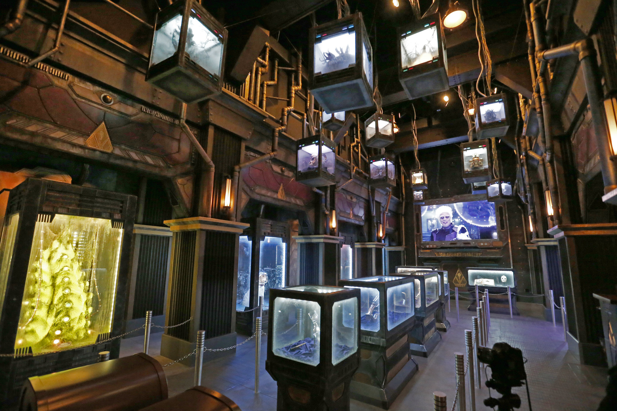 Inside the Collector's fortress at Guardians of the Galaxy: Mission Breakout.