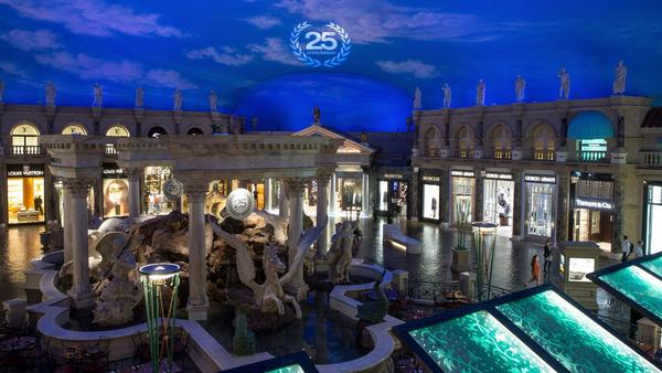Something else the Romans conquered in Vegas: shoppers. Forum Shops, first on the Strip, mark 25 years