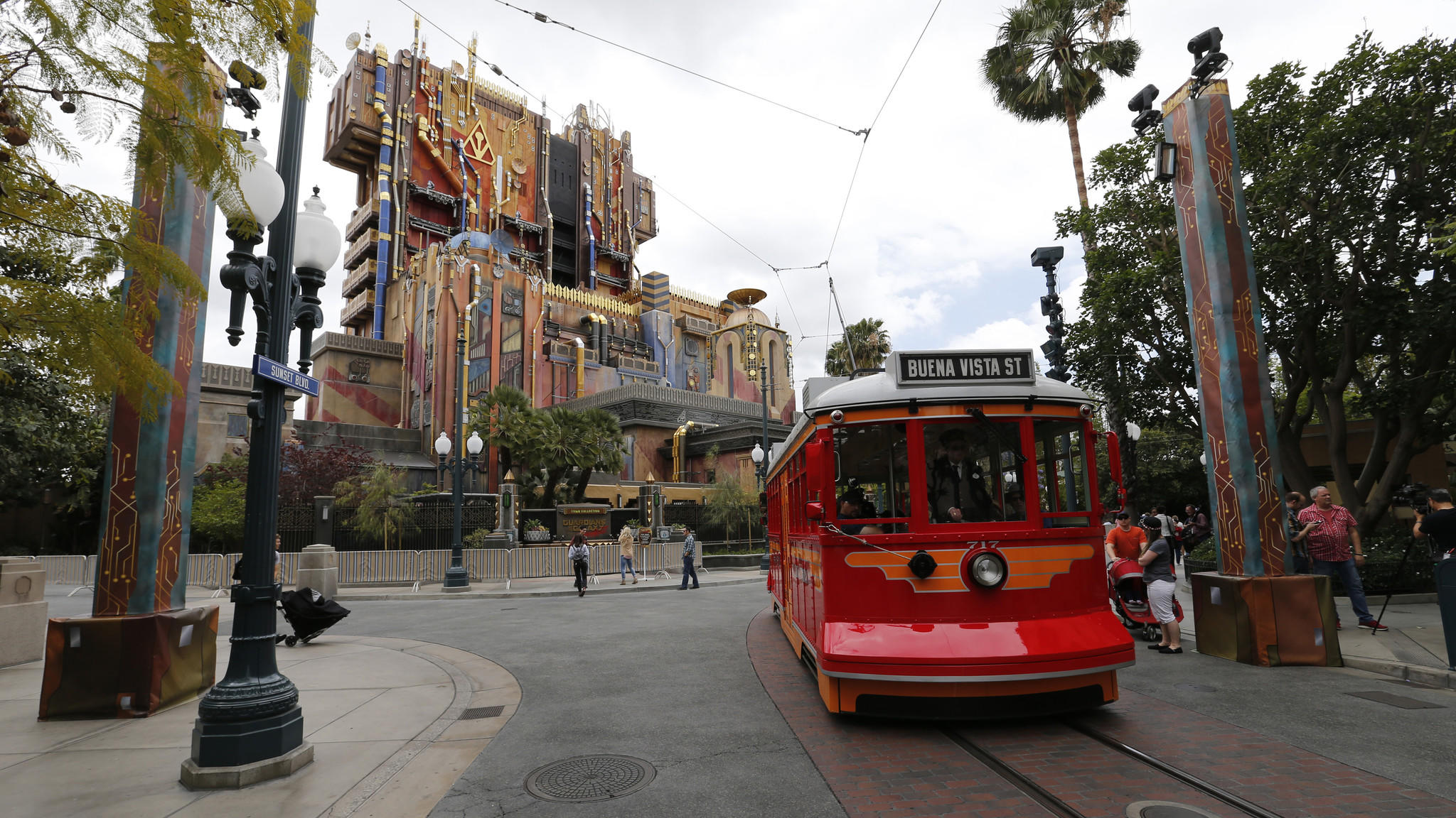 An exterior view of the Guardians of the Galaxy: Mission Breakout ride in Anaheim shortly before the crowds showed up for its May debut.