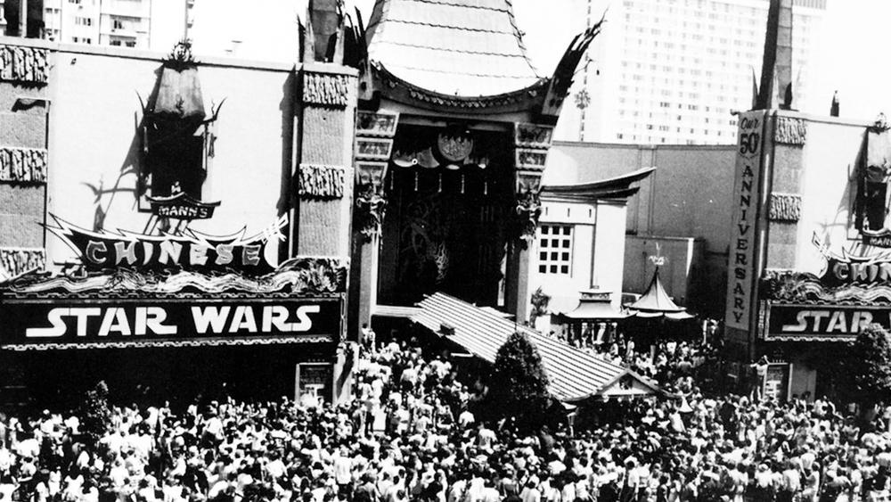 "A crowd gathers at Mann's Chinese Theatre as ""Star Wars"" opens in 1977. (Mann's Chinese Theatre)"
