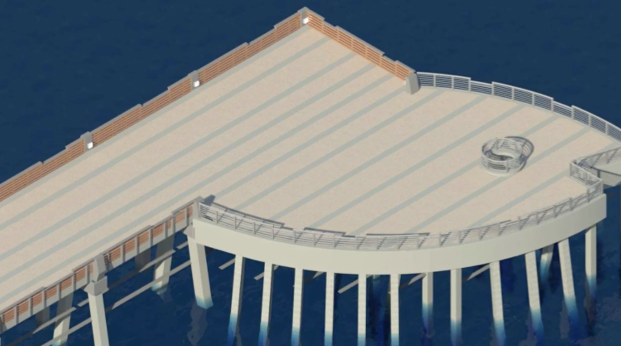 Construction work begins for new pompano beach pier sun for Pompano fishing pier