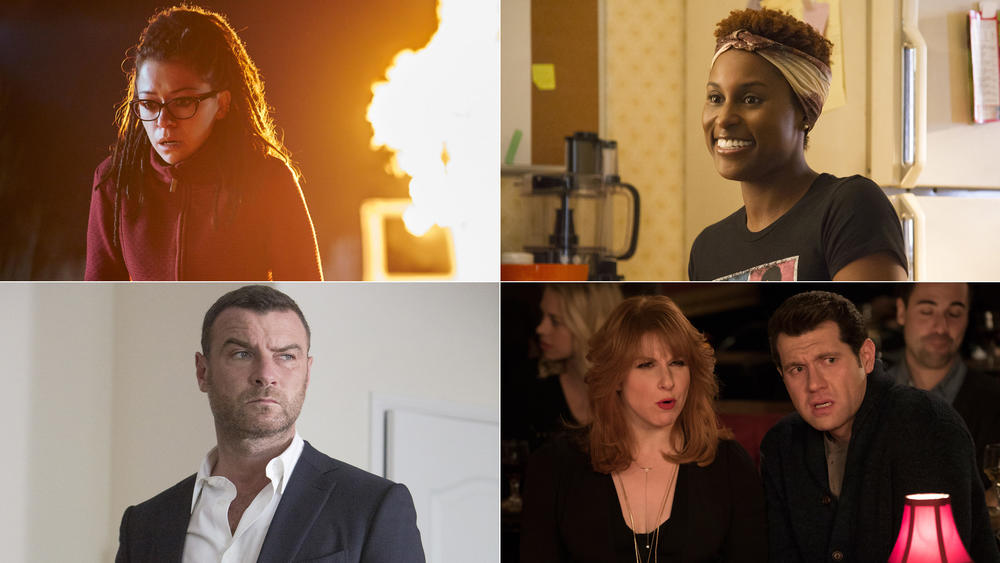 """Clockwise from top left, Tatiana Maslany in """"Orphan Black,"""" Issa Rae in """"Insecure,"""" Julie Klausner and Billy Eichner in """"Difficult People"""" and Liev Schreiber in """"Ray Donovan."""" (BBC America; Anne Marie Fox / HBO; Ali Goldstein / Hulu; Michael Desmond / Showtime)"""