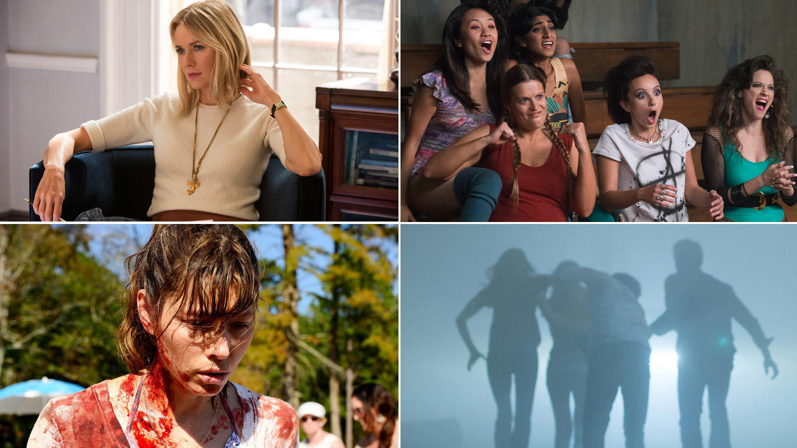 """Clockwise from top left, """"Gypsy,"""" """"GLOW,"""" """"The Mist"""" and """"The Sinner."""" (Netflix / Spike)"""