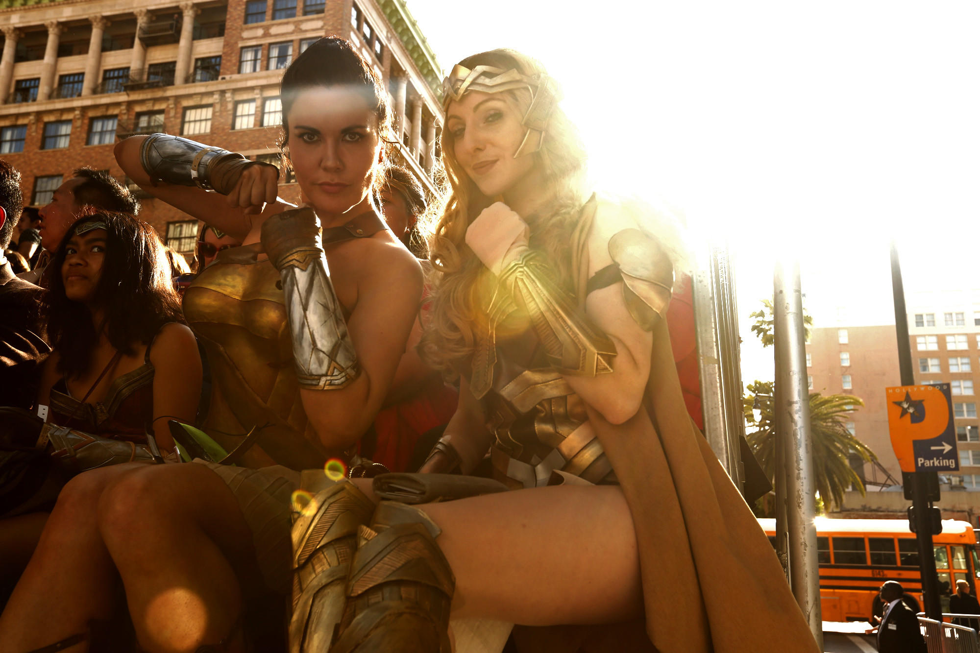 Victoria Ikerd from San Diego, left, and Sylvia Vale from Culver City strike their best Wonder Woman pose. (Genaro Molina / Los Angeles Times)