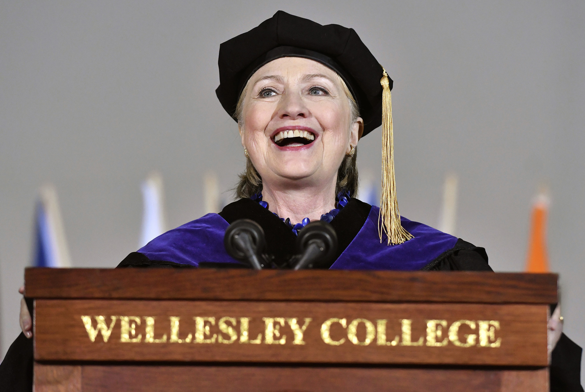 Hillary Clinton delivers the commencement address at Wellesley College in Wellesley, Mass., on Friday. (Josh Reynolds / Associated Press)