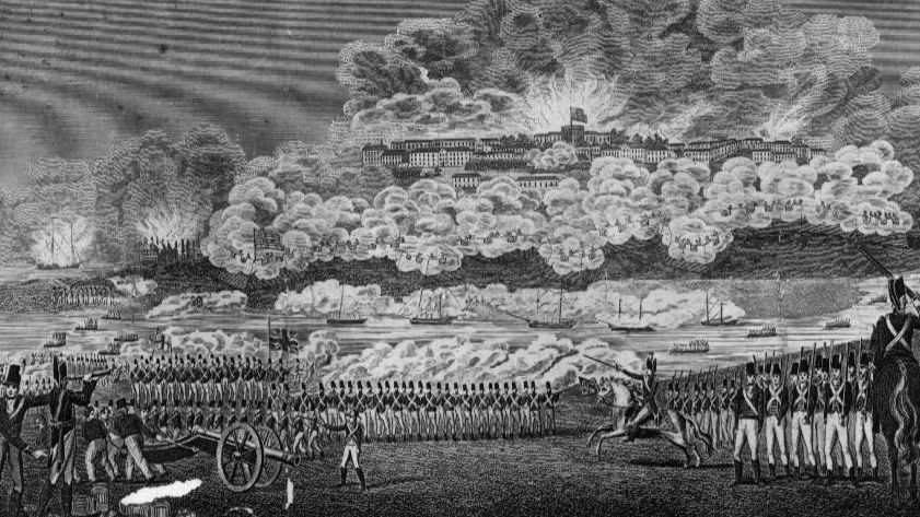 An artist's interpretation of the attack on Washington, D.C., by British troops during the War of 1812.
