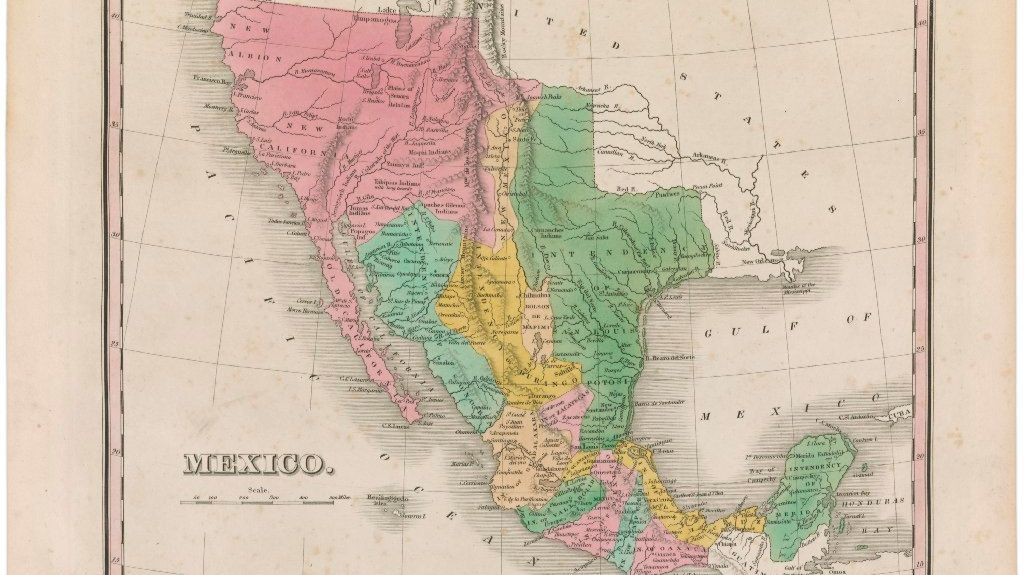 An 1828 map by William Lizars shows the vast territory Mexico held after independence. Mexico would lose much of its northern territory in the war with the United States.