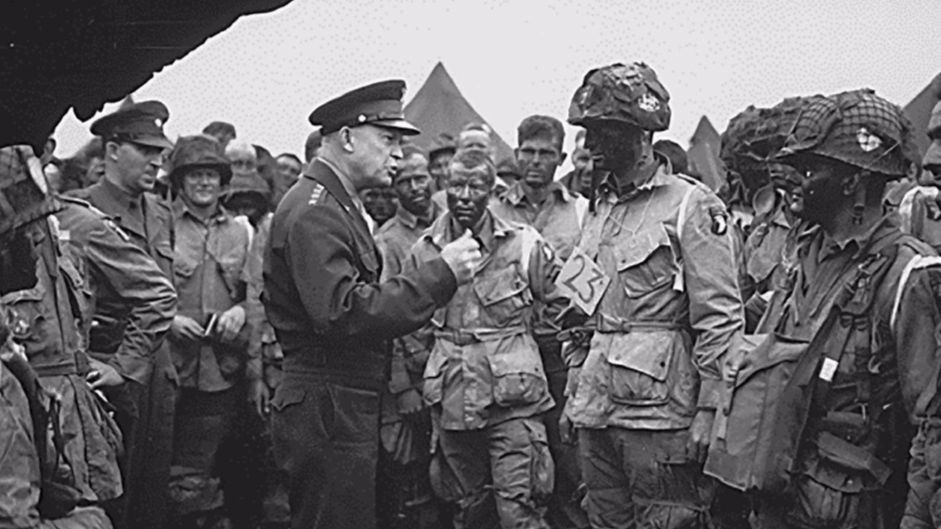 Gen. Dwight D. Eisenhower meets with Army paratroopers from the 101st Division in England on June 5, 1944, a day before the D-day invasion at Normandy, France.