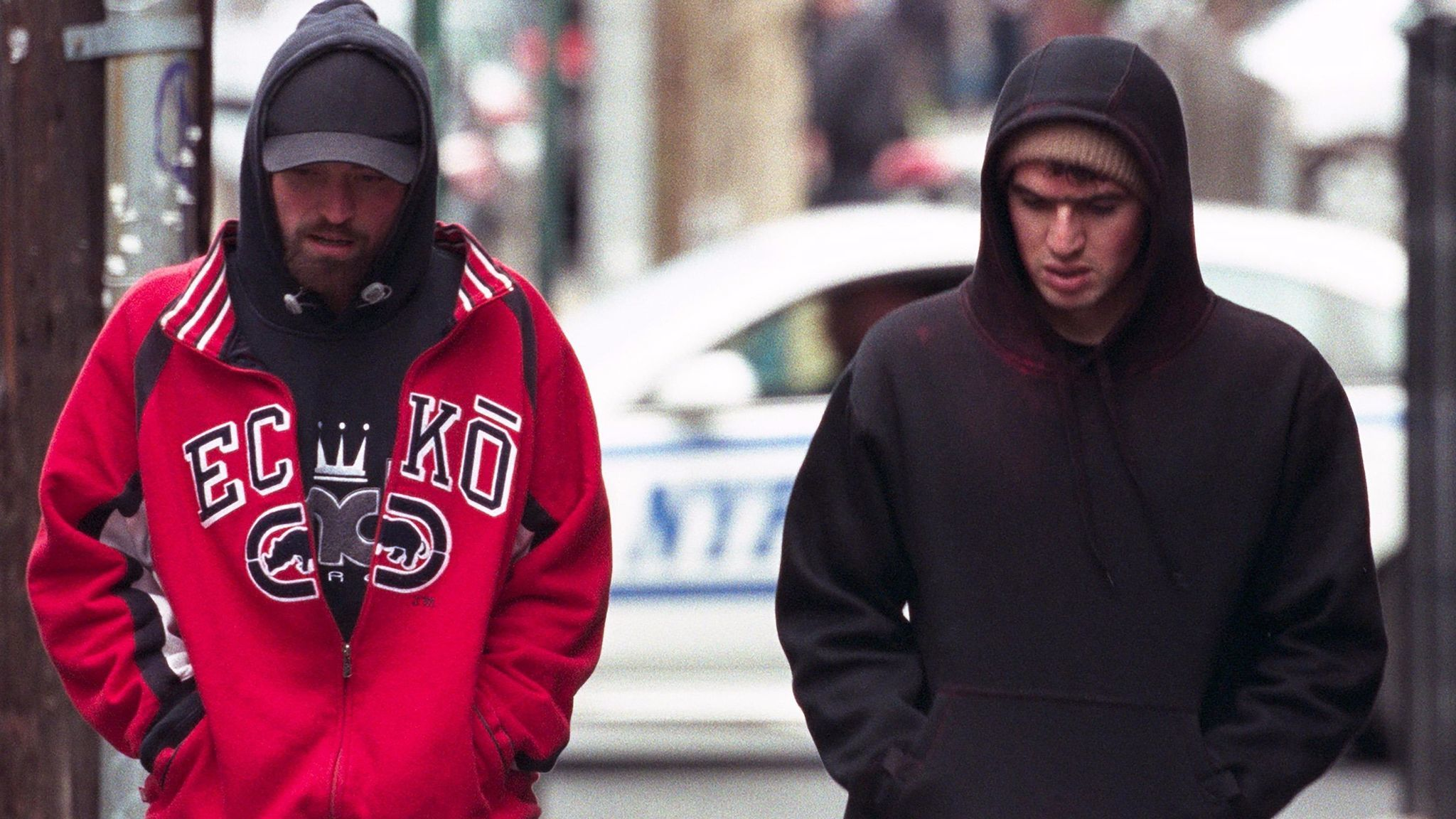 "Robert Pattinson and Benny Safdie in the film ""Good Time."""
