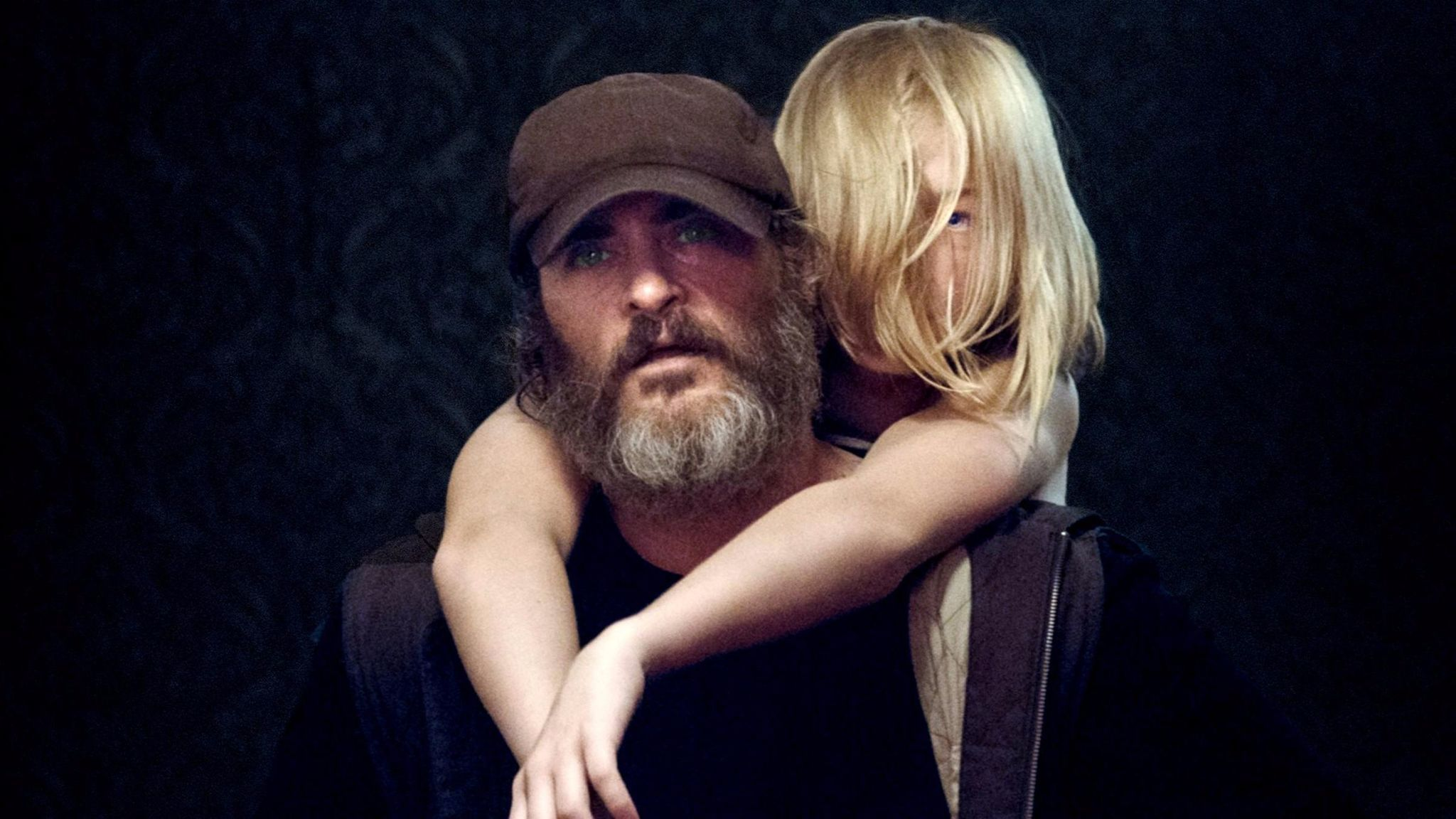 "Joaquin Phoenix and Ekaterina Samsonov in the film ""You Were Never Really Here."""