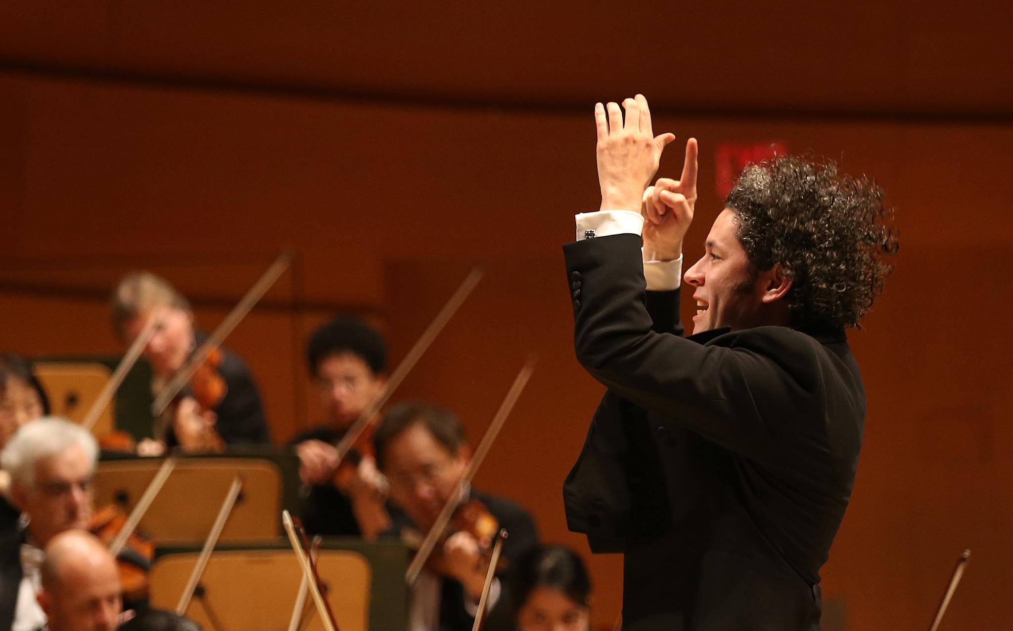 Los Angeles Philharmonic Music Director Gustavo Dudamel, conducting Friday night.