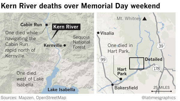 Deadly Holiday Weekend On Roaring Kern River Dead Rescued - Rivers in california map
