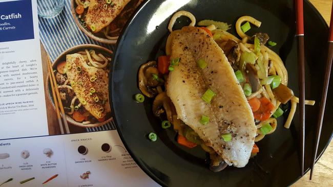 Blue apron hellofresh and other meal kit delivery services blue aprons seared catfish with fresh udon noodles forumfinder Choice Image