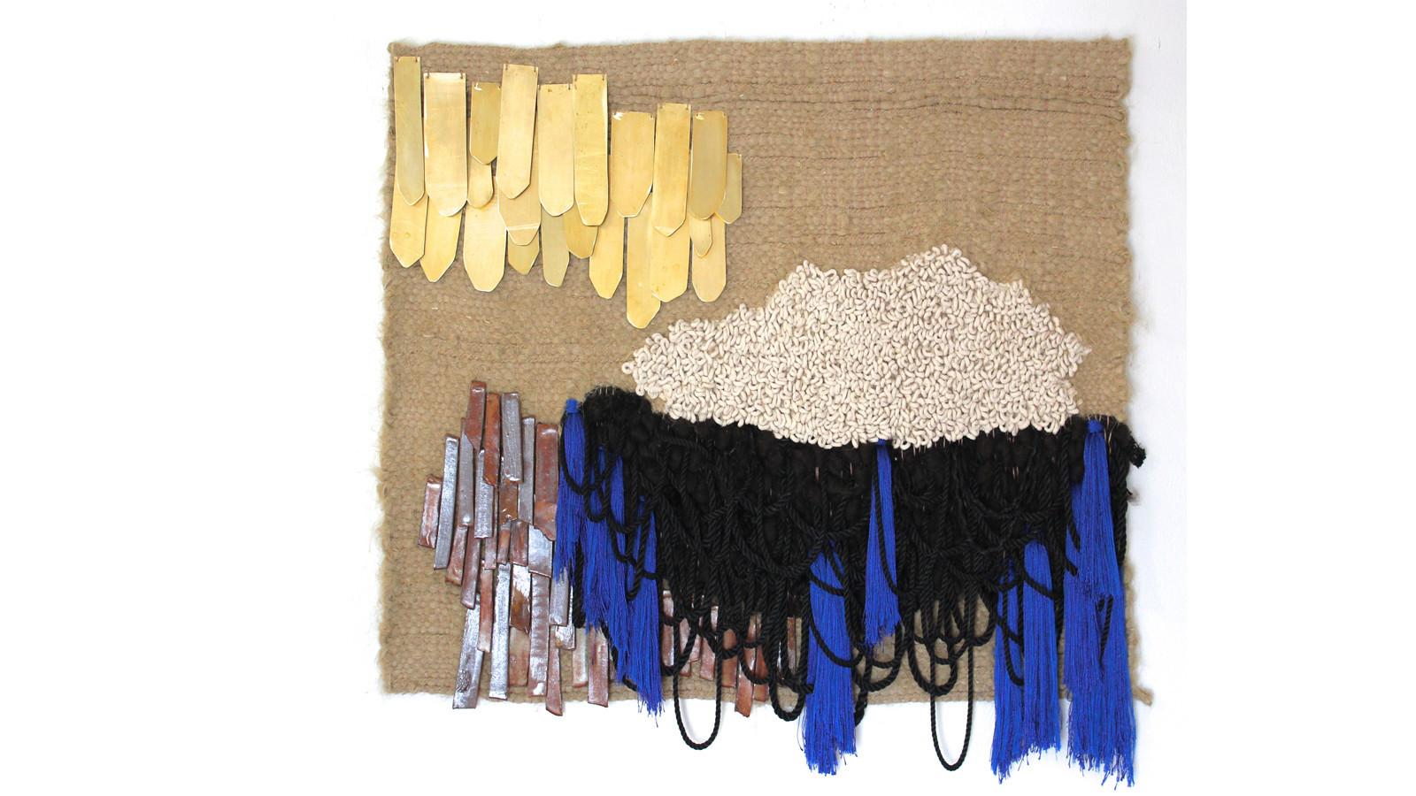 """Summer's Weaving"" -- cotton, hemp, brass, stoneware, nylon, viscose, silk (2017) by Janelle Pietrzak of All Roads Studio."