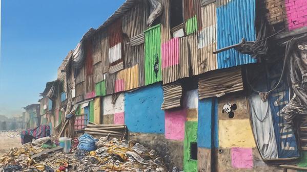 "A detail from Jeff Gillette's painting ""Slum Rehabilitation Authority,"" (2017)"