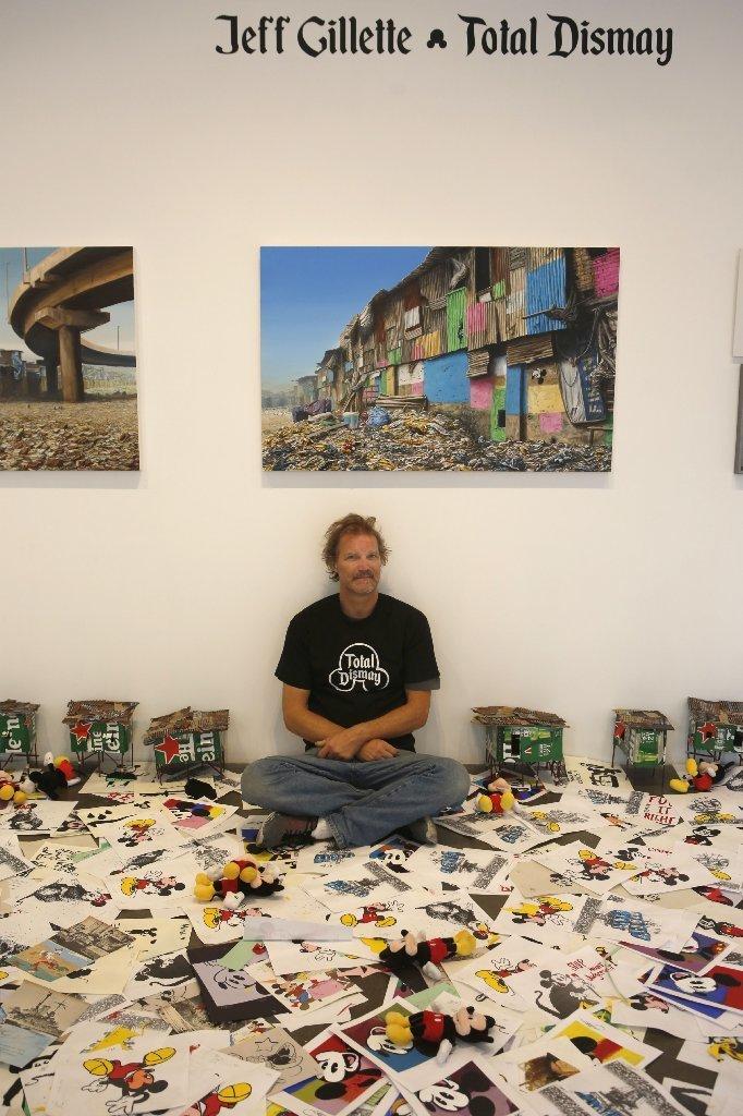 "Artist Jeff Gillette at Gregorio Escalante Gallery, which he transformed into an ""art landfill."""