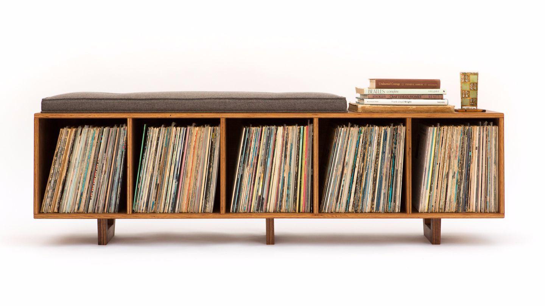A vinyl LP storage bench by Long Beach designer Peter Deeble.