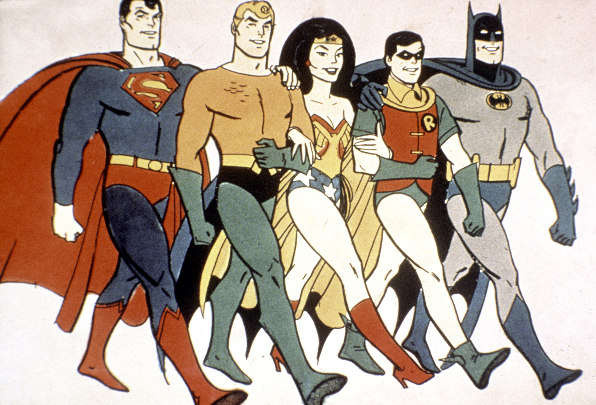 "Superman, left, Aquaman, Wonder Woman, Robin and Batman are ""Super Friends."""