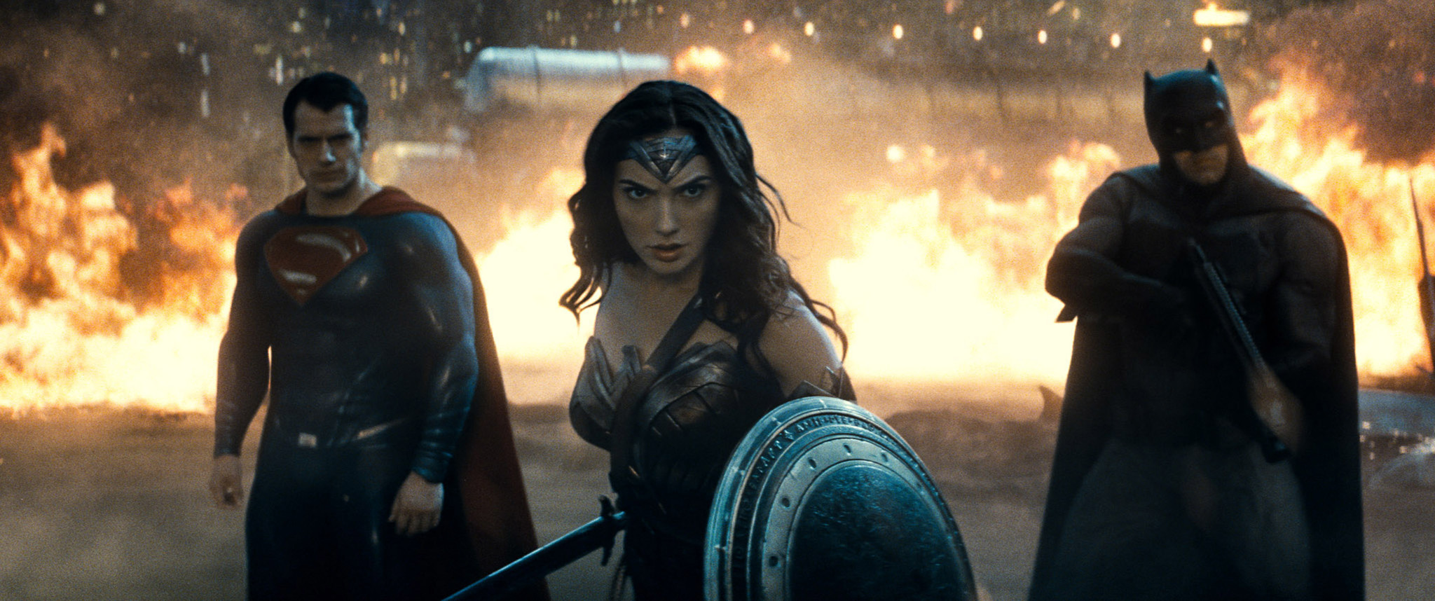 "Henry Cavill, left, Gal Gadot and Ben Affleck in ""Batman v Superman: Dawn of Justice."""