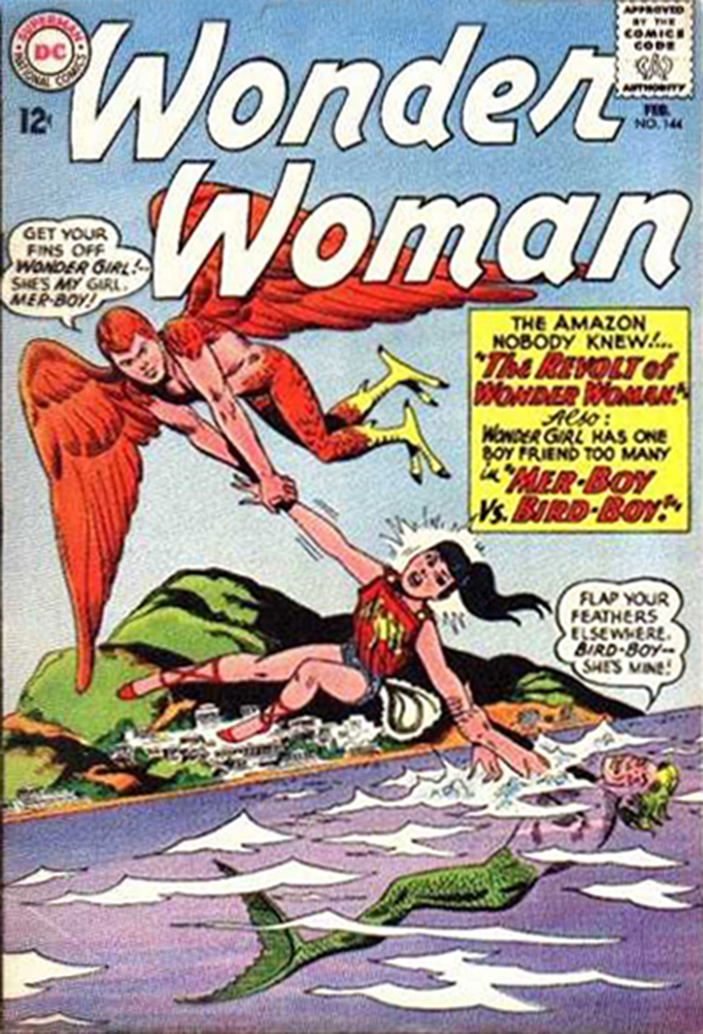 "The cover of ""Wonder Woman"" no. 144 with the Comics Code Authority seal of approval."