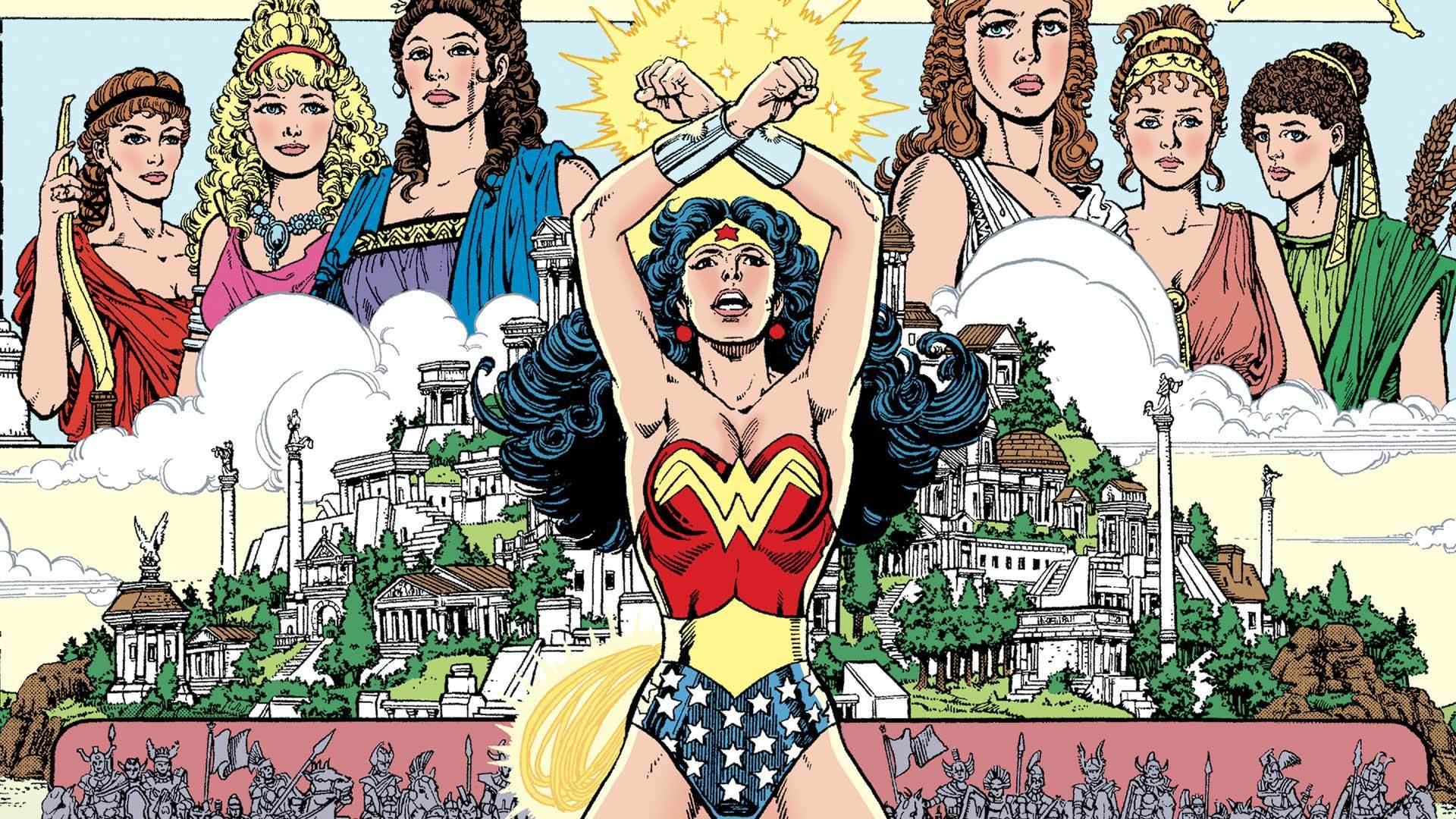 "The cover of ""Wonder Woman by George Perez Omnibus"" Vol. 1."