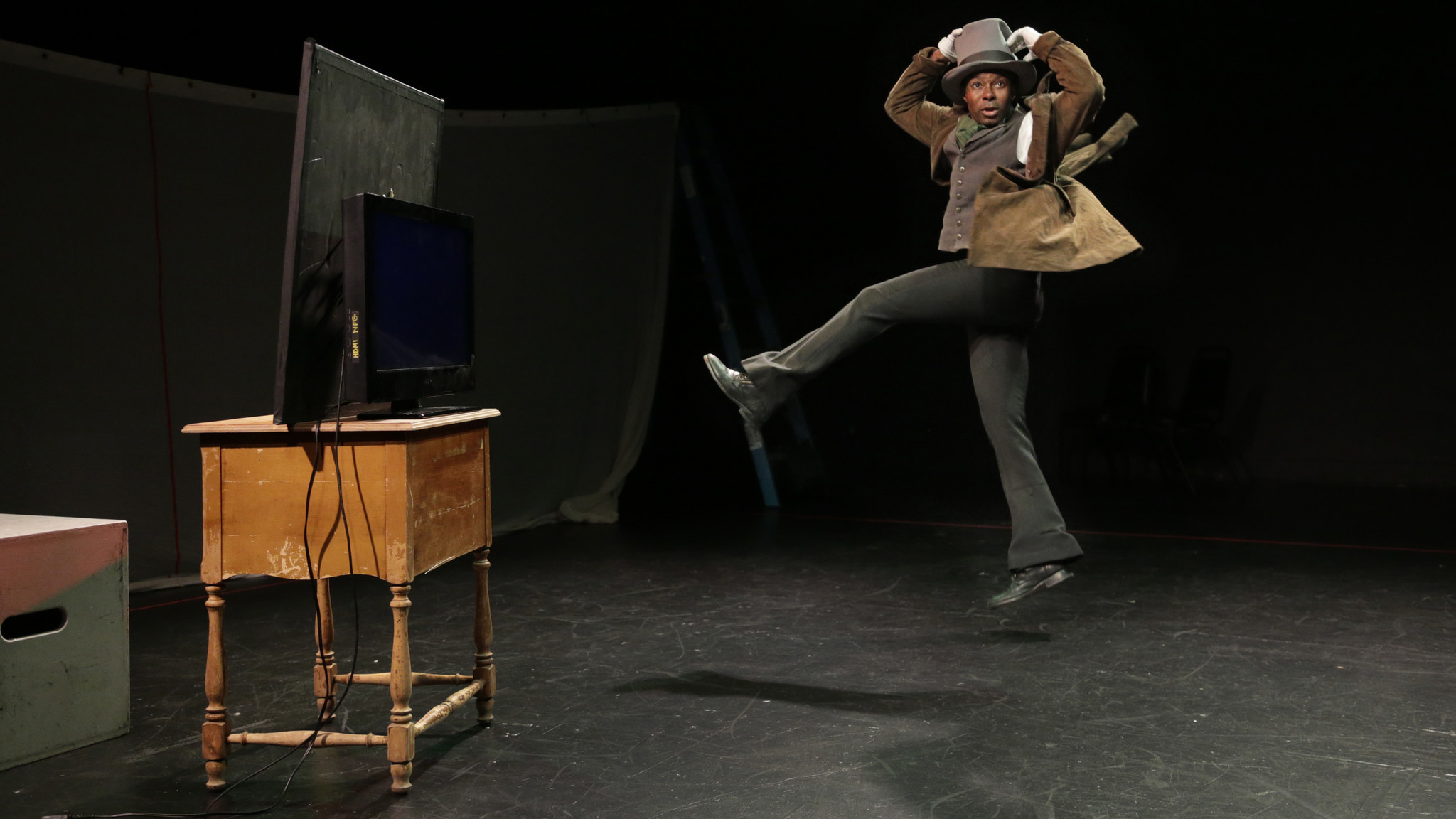 "Frank Lawson rehearsing Edgar Arceneaux's ""Until, Until, Until..."" at CalArts in 2015."