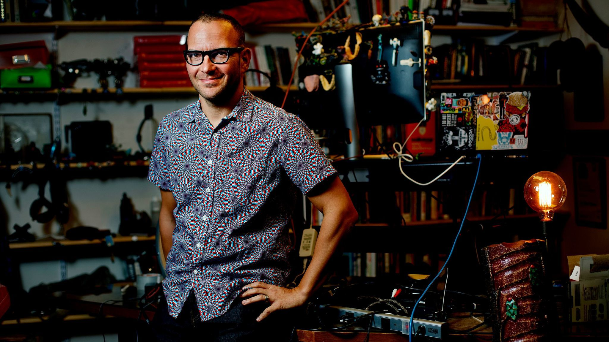 "Cory Doctorow at home. His new novel for adults is ""Walkaway."""
