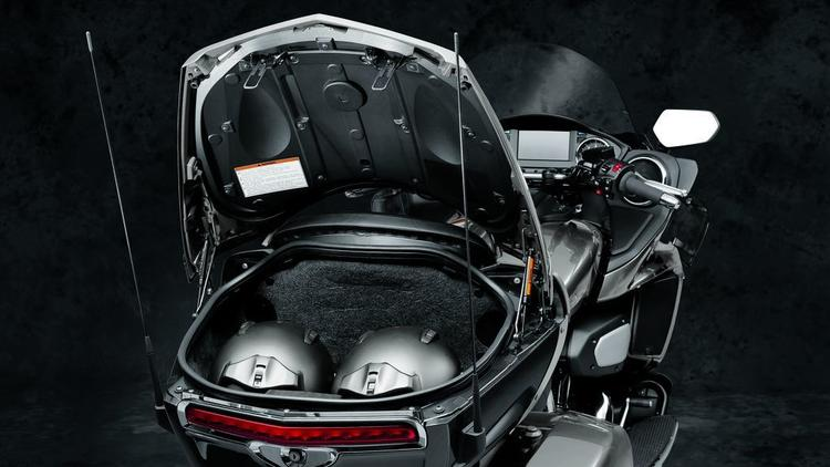 The Star Venture's standard top case is big enough to store two helmets