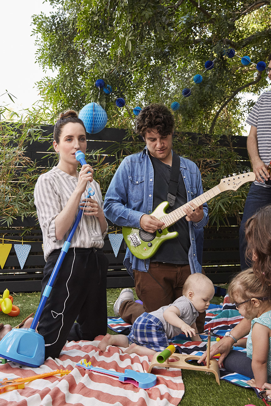 "Zoe Lister-Jones as Anna and Adam Pally as Ben in ""Band Aid."""