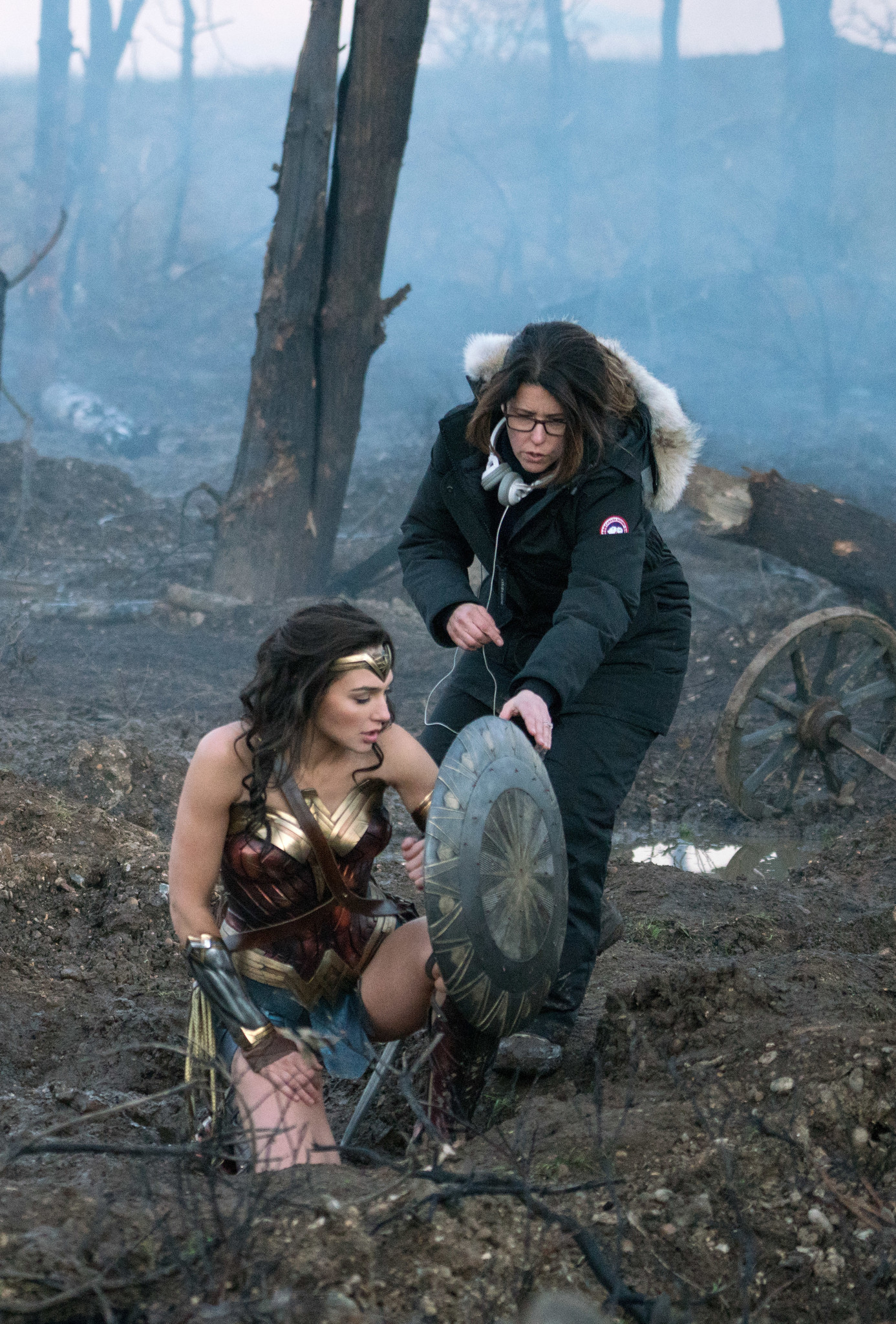 "Gal Gadot and director Patty Jenkins on the set of ""Wonder Woman."""