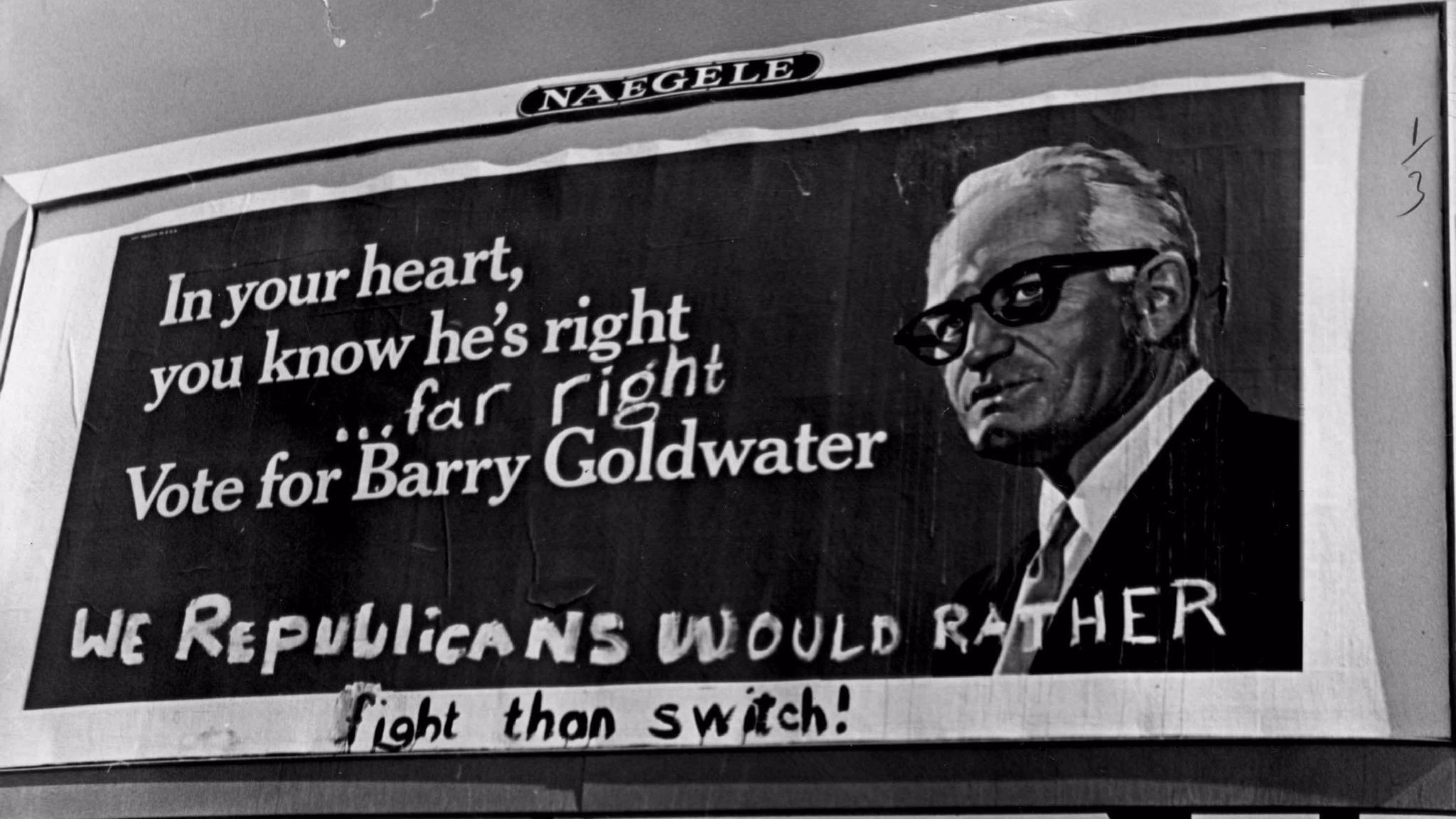 A billboard during the 1964 presidential campaign.