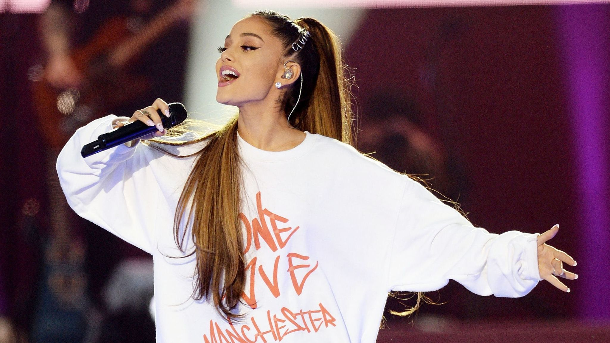 Ariana Grande performs at the One Love Manchester benefit concert in England earlier this month. (Dave Hogan / Associated Press)