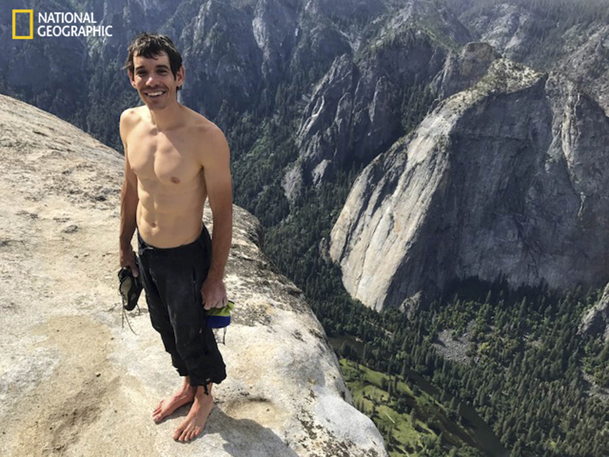 Alex Honnold stands atop El Capitan after his solo free climb — the first ever — of the Yosemite icon on Saturday.
