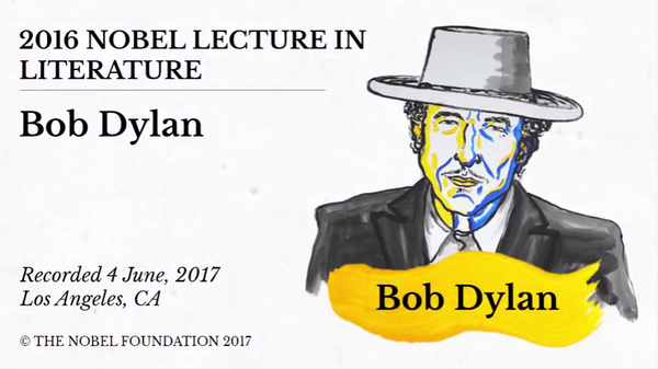 Cover image of Dylan's acceptance speech. (Nobel Prize committee)
