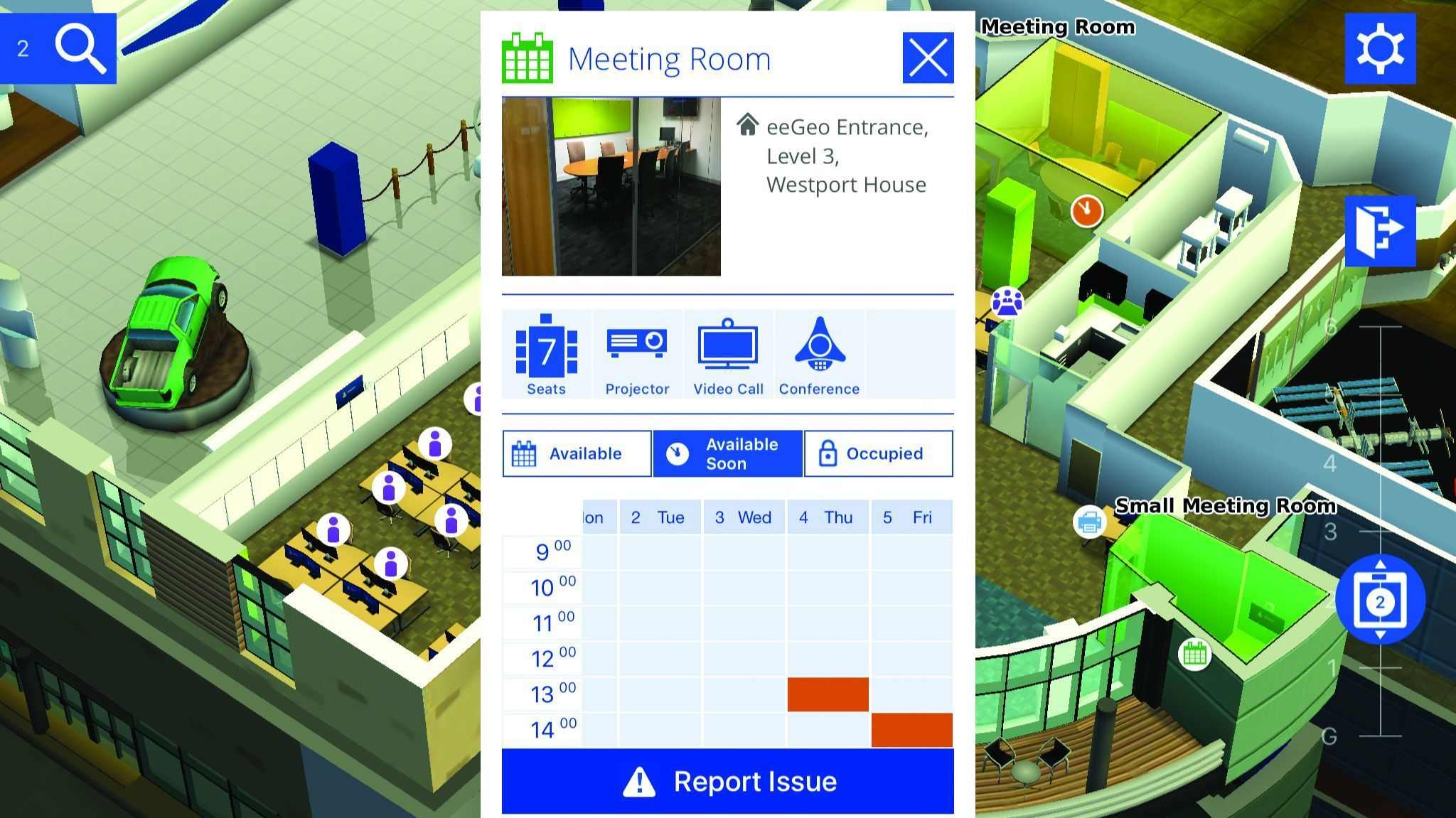 Wrld makes its service available to app developers to integrate their services, including conference room scheduling above.