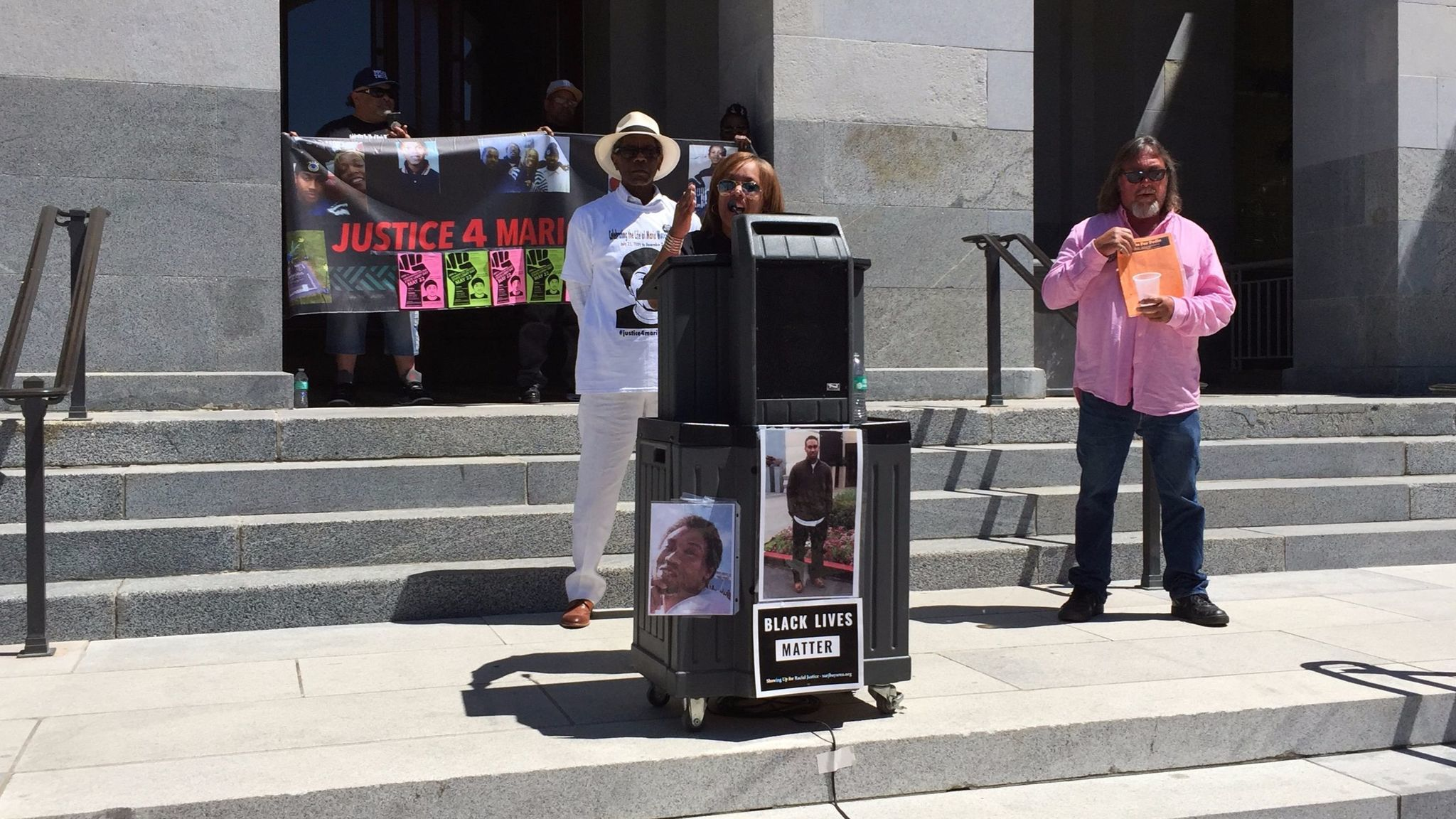 Gwendolyn Woods, whose son Mario was killed by San Francisco police in 2015, speaks at a small rally outside the Capitol in May 2017.