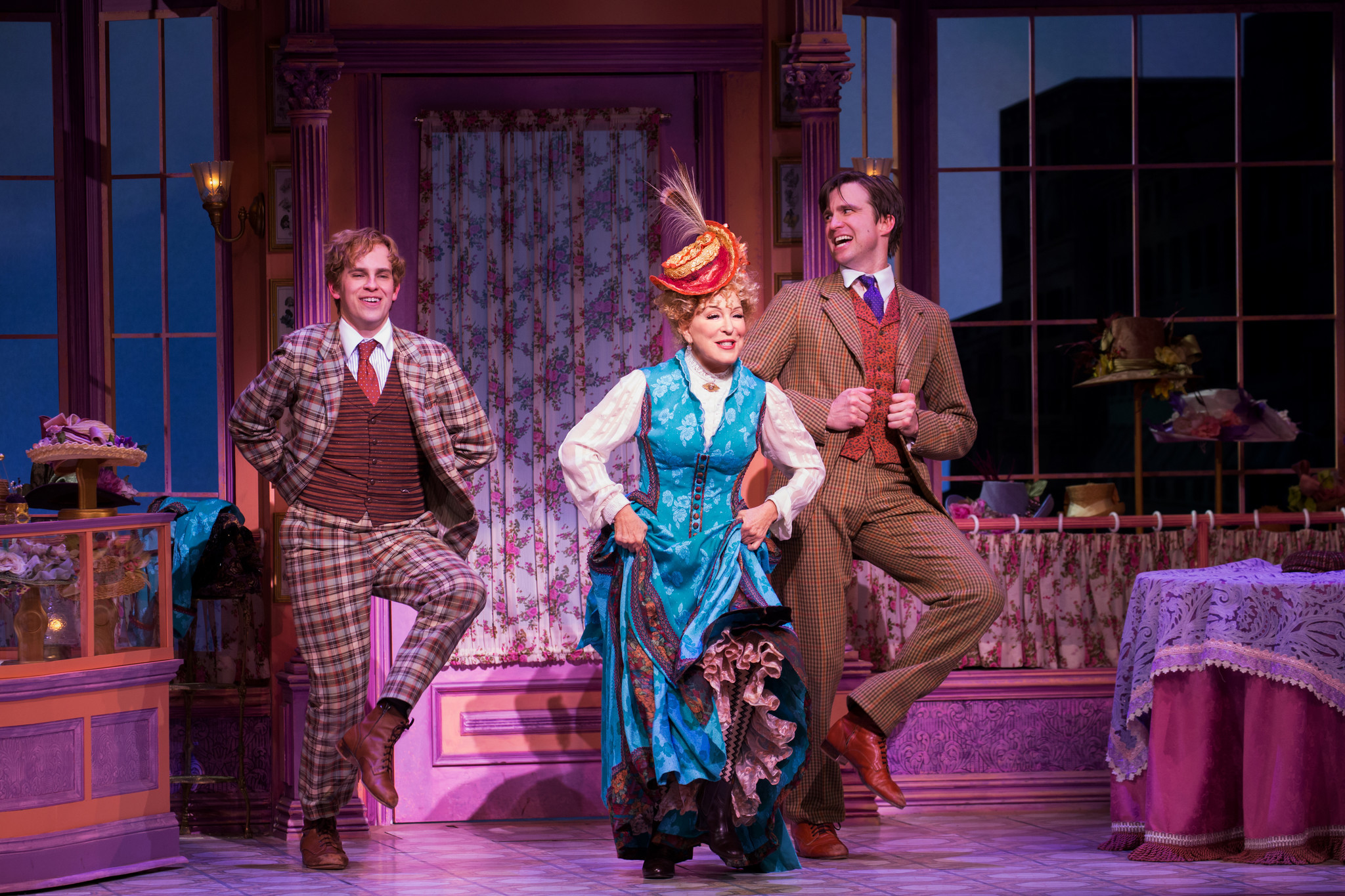 "Bette Midler flanked by Taylor Trensch, left, and Gavin Creel in ""Hello, Dolly!"""