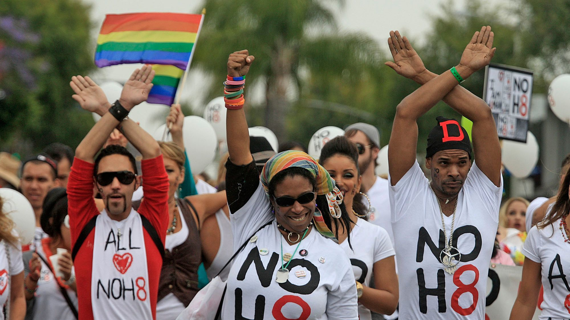 NOH8 participates during the LA Pride Parade on June 12, 2011.