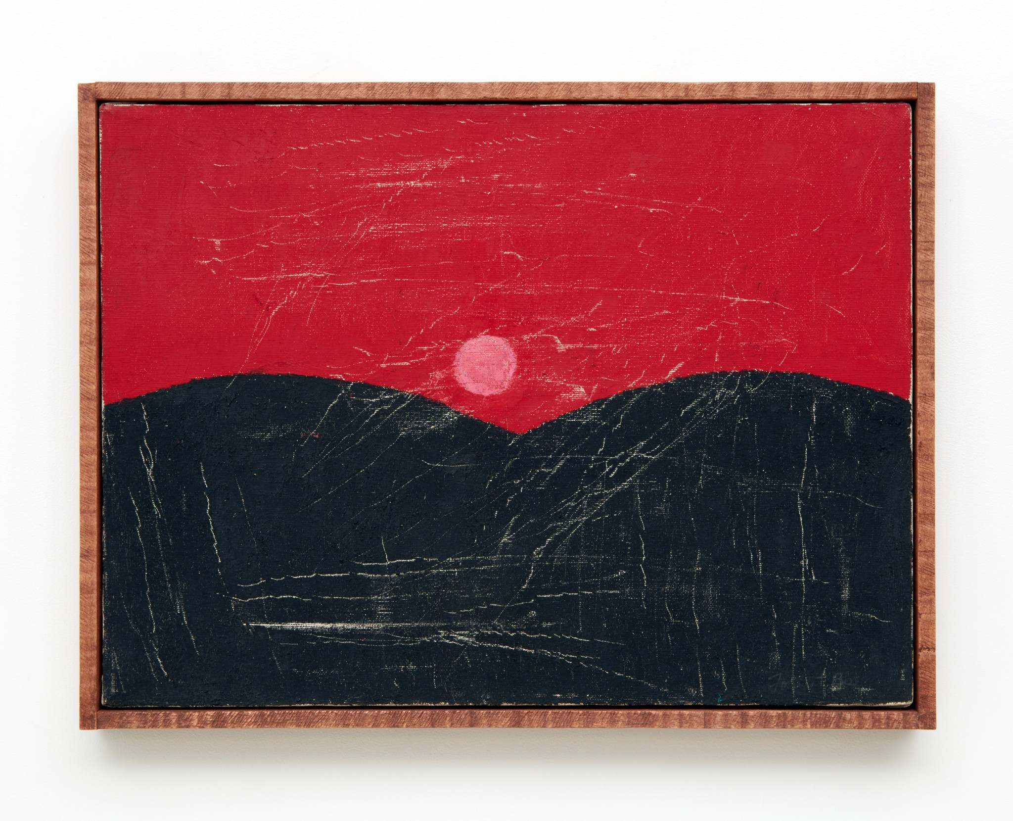 "Forrest Bess, ""Untitled (Pink Moon),"" oil on canvas in artist's frame, 12.75 inches by 16.75 inches."
