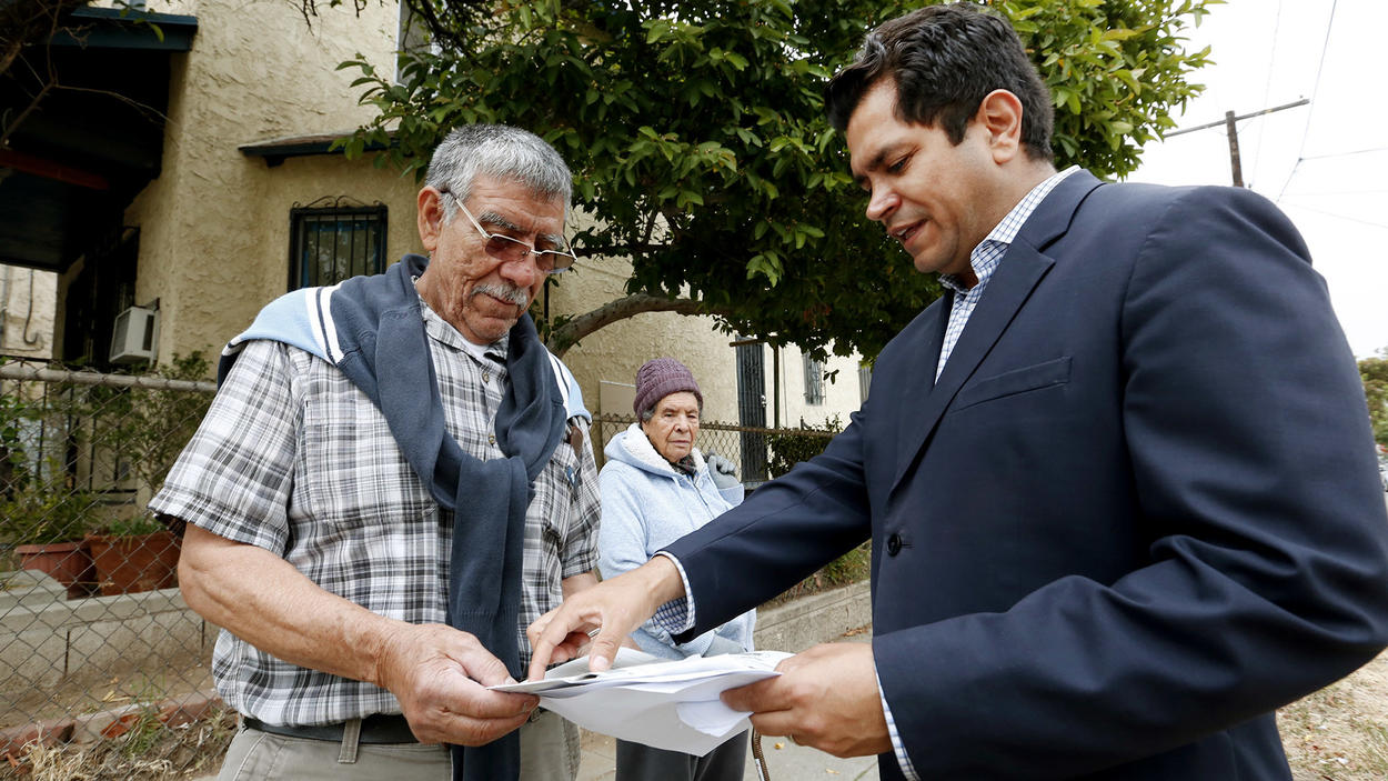 Assemblyman Jimmy Gomez (D-Los Angeles), right, was elected to Congress on Tuesday. (Al Seib / Los Angeles Times)