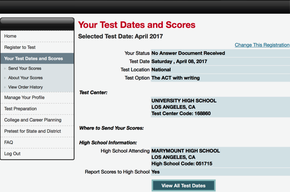 """Instead of test scores, about 125 students see """"No Answer Document Received"""" online. (Courtesy of Jewlz Fahn)"""
