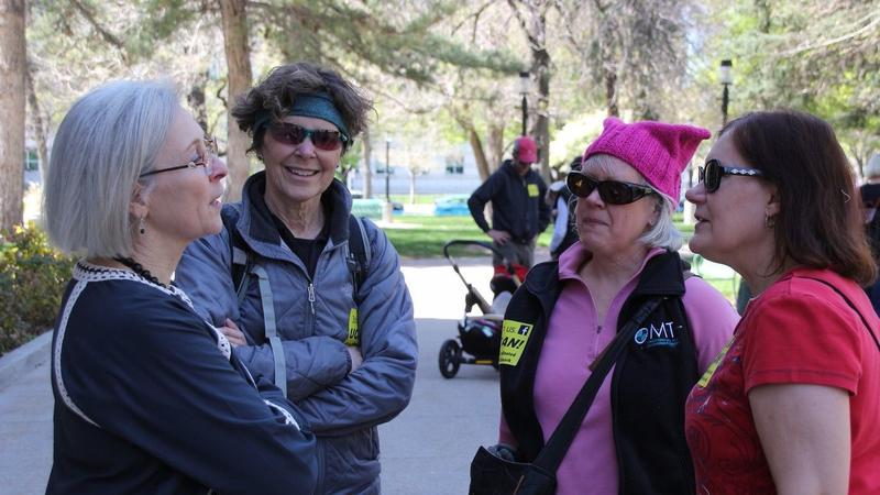 Allen speaks to activists at the Utah Trump Tax March in Salt Lake City on April 15. (Kathryn Allen campaign)