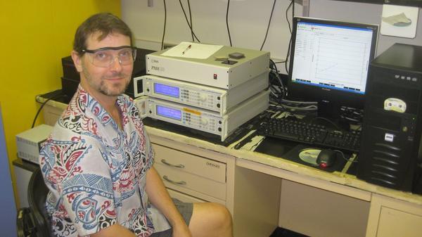 Wadkins conducting an experiment. (Courtesy of Randy Wadkins)